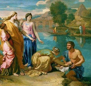 Moses rescued from the Nile, 1638, by Nicolas Poussin.