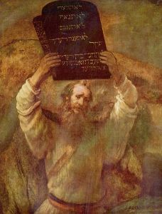 Moses with the Ten Commandments by Rembrandt (1659)