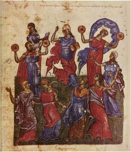"""And Miriam the prophetess, the sister of Aaron, took a timbrel in her hand; and all the women went out after her with timbrels and with dances."" (Exodus 15:20). Illuminated manuscript, Tomić Psalter, 1360/63, Moscow State Historical Museum"