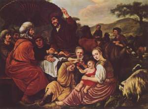 Moses takes his leave of Jethro by Jan Victors, c. 1635, from the incident in Exodus 4:18. Jethro is seated on the left, in red.